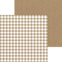 Kraft Buffalo Check - Wood Grain 12x12 Paper