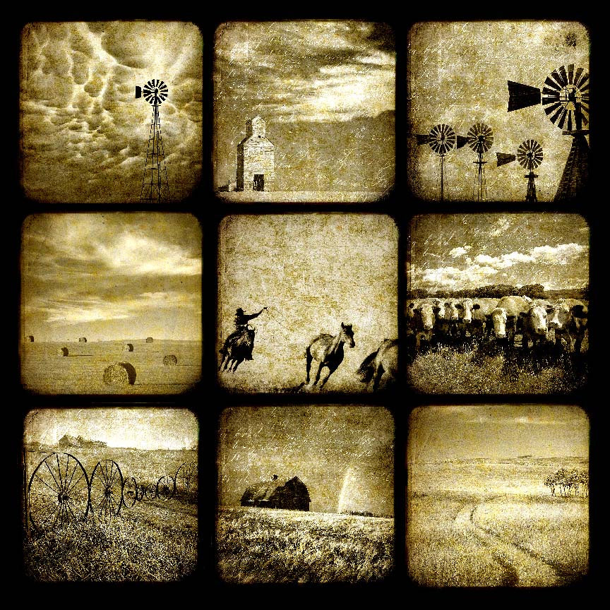 Sepia Western Collage 12x12 Paper