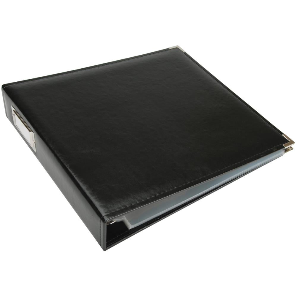 Black Classic Leather 12x12 D-Ring Album