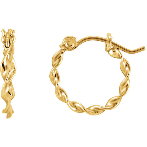 14K Yellow Gold Subtle Twist Hoop Earrings - Cailin's