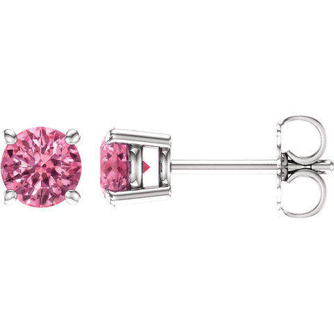 14K White Gold Pure Pink Topaz Post Earrings - Cailin's