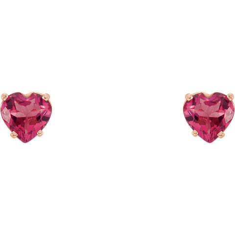 14K Gold Genuine Gemstone Heart Post Earrings - Cailin's