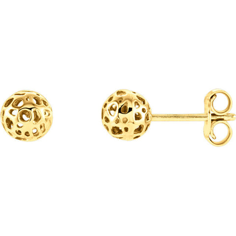 14K Gold Space Ball Post Earrings - Cailin's