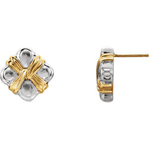 14K Yellow Gold Sterling Silver Square Earrings - Cailin's