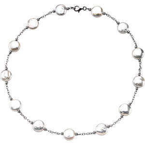 Sterling Silver Freshwater Pearl Coin Necklace - Cailin's