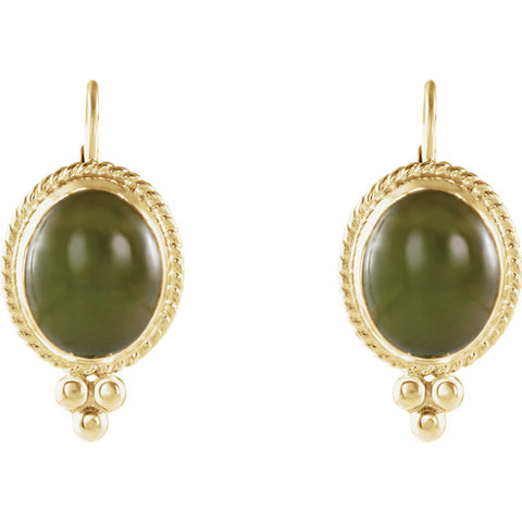14K Yellow Gold Victorian Jade Earrings - Cailin's