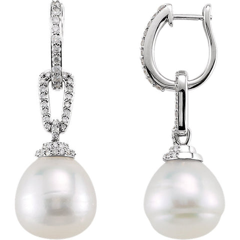 14K White Gold South Sea Pearl Half Carat diamond Earrings - Cailin's