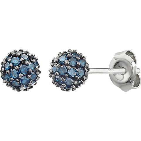 14K Gold Pavé Color diamonds Gemstone Ball Post Earrings - Cailins | Fine Jewelry + Gifts