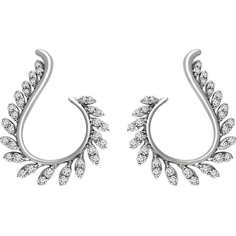 14K White Gold Half Carat diamond Lux Leaf Earrings - Cailin's