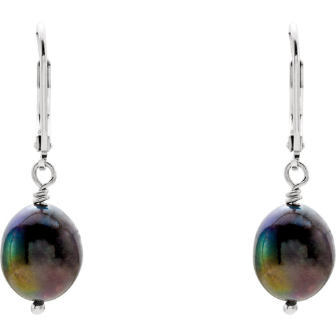 Sterling Silver Freshwater Black Pearl Leaverback Earrings - Cailin's