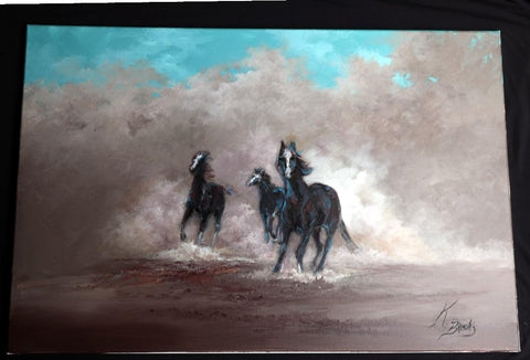 Three Horses Running Free - Cailin's
