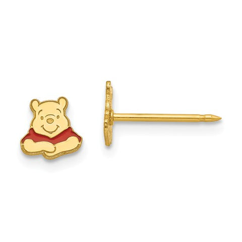 14K Yellow Gold Winnie The Pooh Bear Post disney Earrings - Cailin's