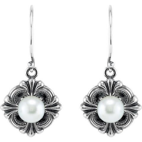 Sterling Silver Victorian Style Pearl French Wire Earrings - Cailin's