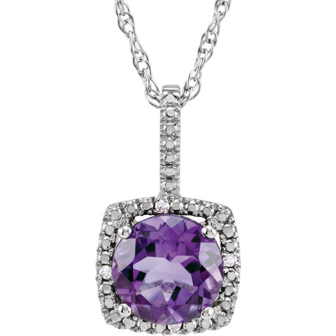 Sterling Silver Halo Birthstone diamond 18 Inch Necklace - Cailin's