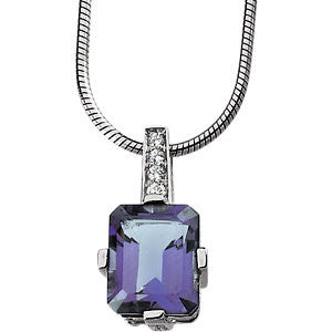 Sterling Silver Amethyst CZ Necklace - Cailin's