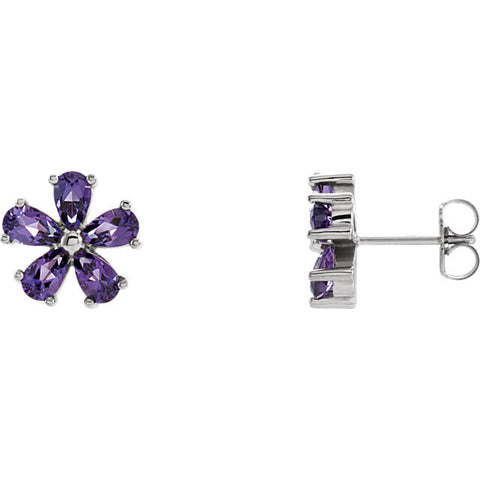 14K White Gold Flower Gemstone Earrings - Cailin's