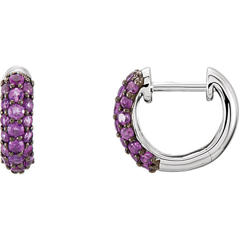 14K White Gold Gemstone Pavé diamond Hoop Earrings - Cailin's