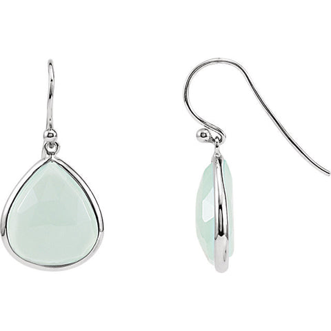 Sterling Silver Aqua Chalcedony Earrings - Cailin's