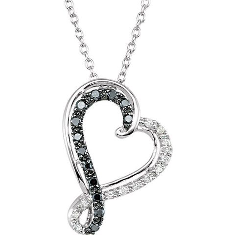 Sterling Silver Black White 1/5CT diamond 18 inch Necklace - Cailin's