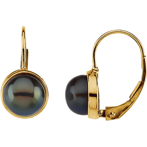 14K Gold Freshwater Black Pearl Leverback Earrings - Cailin's