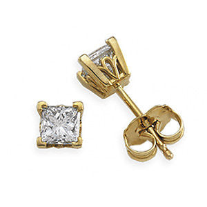 14K Yellow Scroll diamond Post Earrings - Cailin's