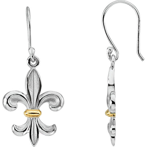 14K Two Tone Fleur de Lis Earrings - Cailin's