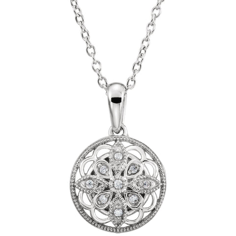 Sterling Silver Floral Filigree diamond Necklace - Cailin's