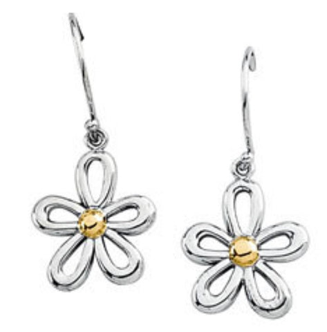 14K Gold Two Tone Flower Earrings - Cailin's