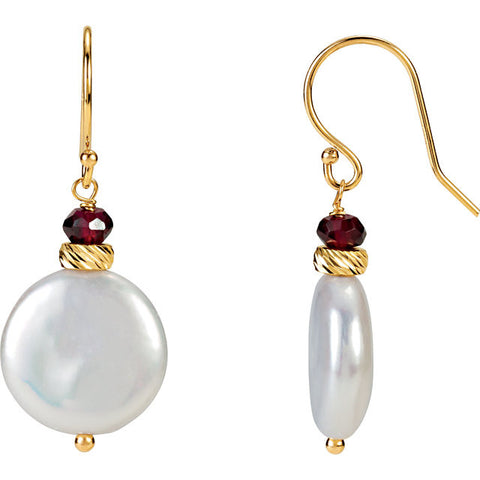 14K Yellow Gold White Pearl Garnet Accent Earrings - Cailin's