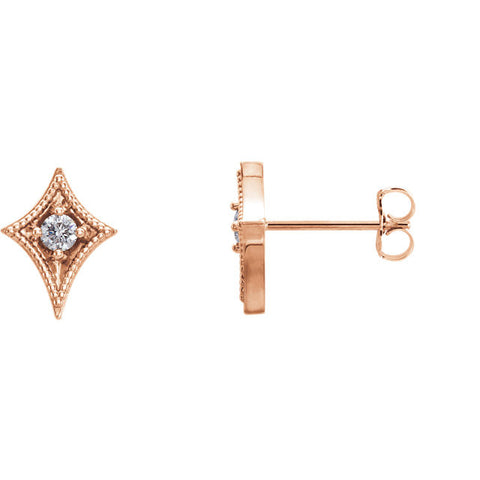 Geometric 1/8th CT diamond Star Post Earrings - Cailin's