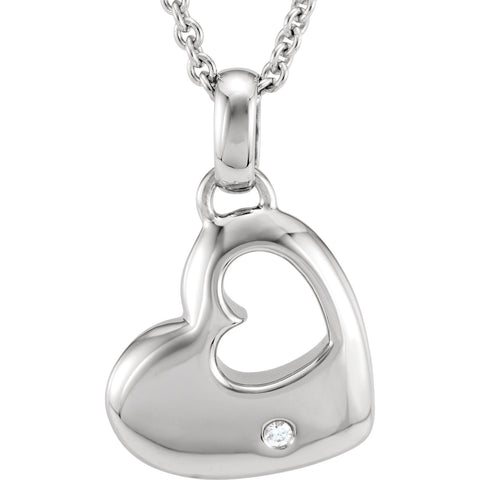 Sterling Silver Heart diamond Accent 18 inch Necklace - Cailin's
