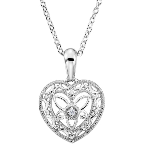 Sterling Silver diamond Heart Filigree Necklace - Cailin's