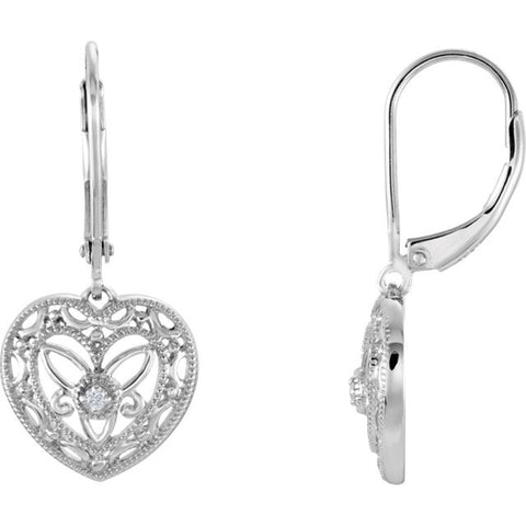 Sterling Silver Heart Filigree diamond Leverback Earrings - Cailin's