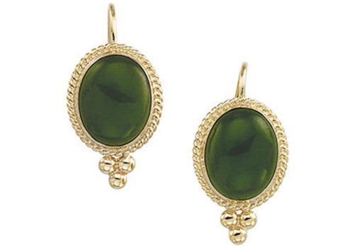 14K Yellow Gold Nephrite Jade Cabochon Earrings - Cailin's
