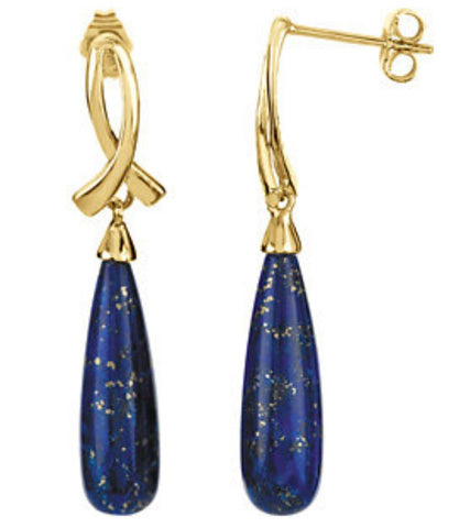14k Yellow Gold Genuine Cabochon Lapis Post Earrings - Cailin's