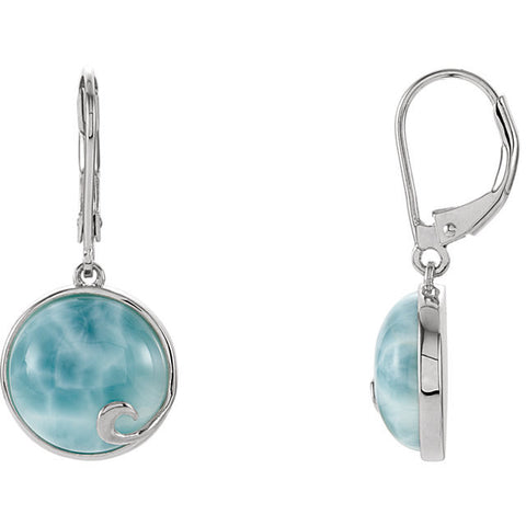 Sterling Silver Larimar Leverback Earrings - Cailin's
