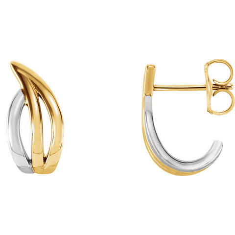 14K Two Tone Gold Freeform Hoop Earrings - Cailins | Fine Jewelry + Gifts