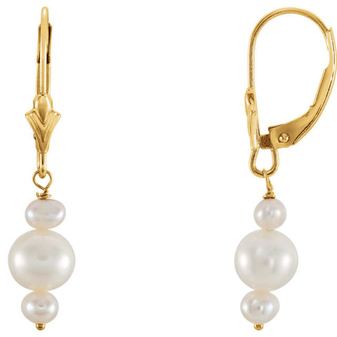 14K Yellow Gold Triple Pearl Post Earrings - Cailin's