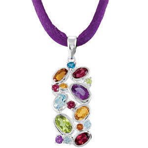 Sterling Silver Multi Genuine Gemstone Necklace - Cailin's