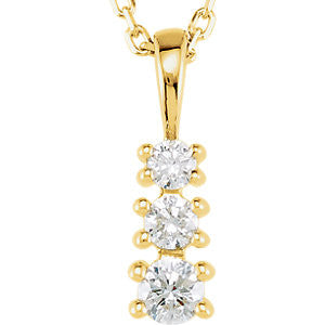 14K Gold Three Stone Diamond Necklace - Cailin's