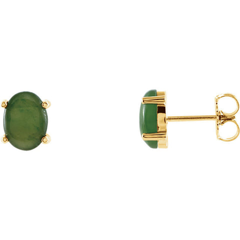 14K Yellow Gold Oval Genuine Green Jade Earrings - Cailin's