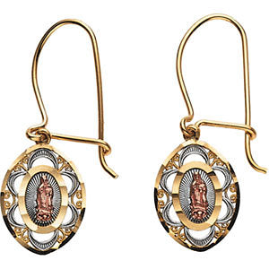 14K Gold Oval Our Lady of Guadalupe Earrings - Cailin's