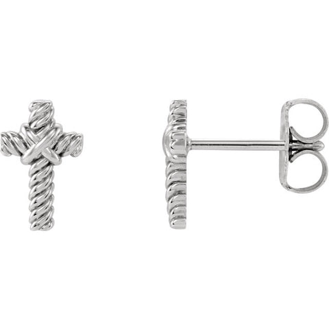 14K White Gold Texture Rope Cross Earrings - Cailin's