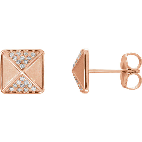 14K Gold diamond Pyramid Post Earrings - Cailin's