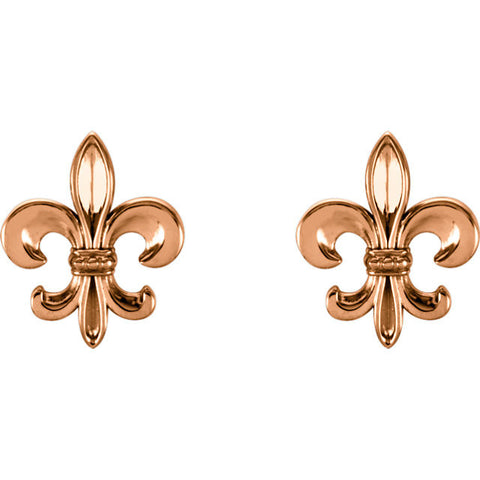14K Gold Fleur de Lis Post Earrings - Cailin's