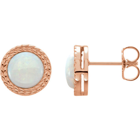 14K Gold Cabochon Opal Bezel Leaf Earrings - Cailin's