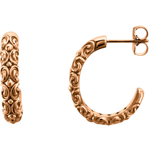 14K Gold Half Hoop Sculpture Earrings - Cailin's