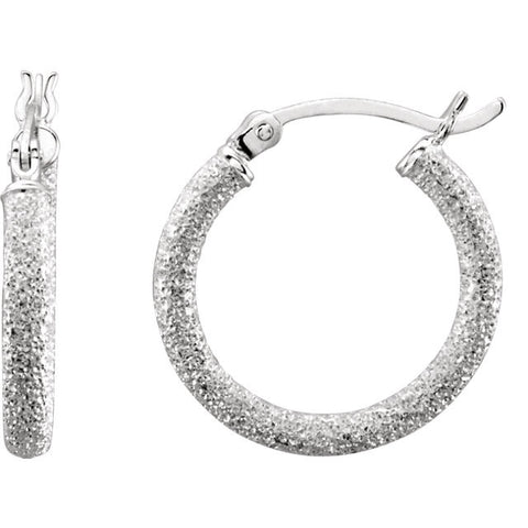 Sterling Silver Space Glitter Hoop Earrings - Cailins | Fine Jewelry + Gifts