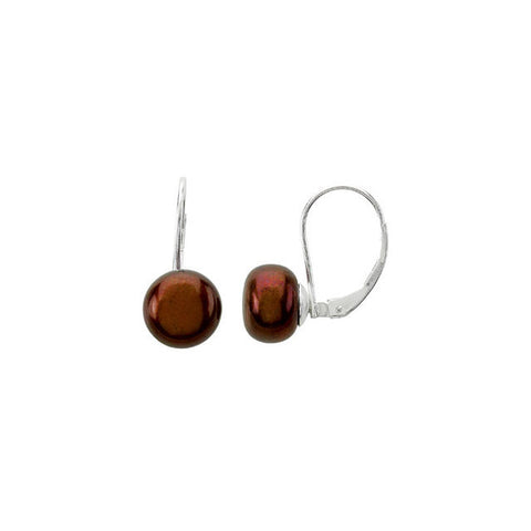 Chocolate Pearl Leverback Earrings - Cailin's