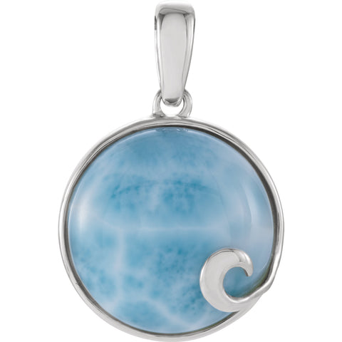 Sterling Silver Larimar Cabochon Necklace - Cailin's